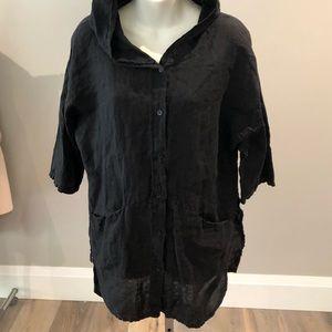 100% Linen Shirt/Jacket with Hood & Pockets